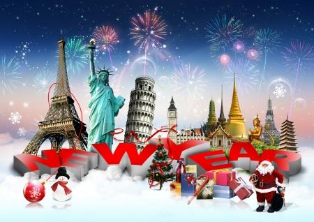 Frohes Neues Jahr-Konzept auf die Reise-Hintergrund Standard-Bild - 23844470