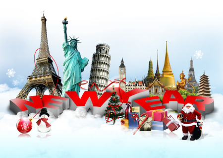 pise: Happy New Year concept on travel background