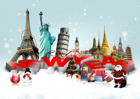 Happy New Year concept on travel background photo