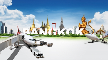 spiritual journey: Travel in Bangkok, concept panorama landscape Stock Photo
