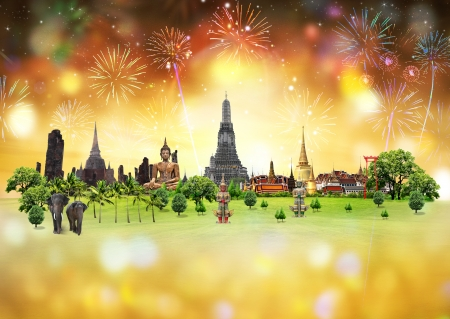 Fireworks with Thailand Festival, concept photo
