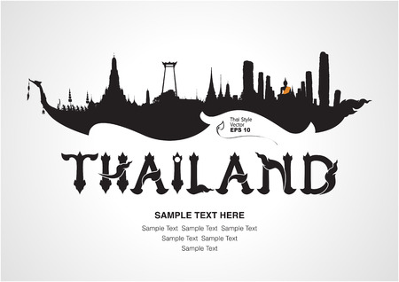 landmarks: thailand travel design, vector illustration