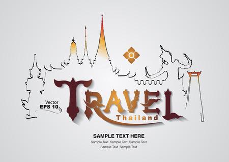 Diseño de viajes de Tailandia, ilustración vectorial