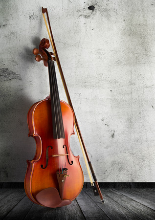 classical violin in vintage background photo