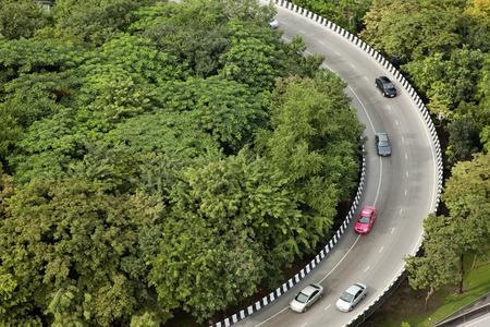 Curva de la vista superior de carreteras Foto de archivo - 31106400