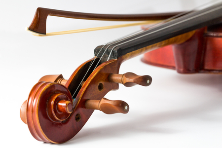 bout: Close up of a violin and bow on white background Stock Photo