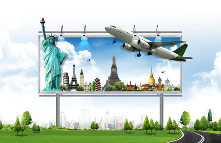 billboard, travel concept Stockfoto