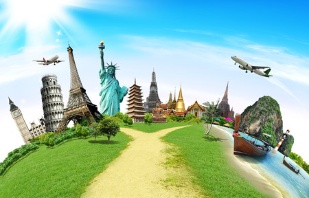 transportation travel: Travel the world monument concept Stock Photo