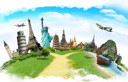 концепция: Путешествуйте по миру концепцию памятника