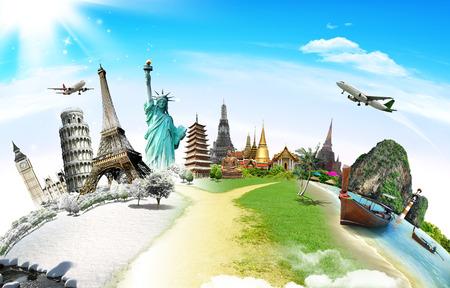 globo mundo: Viaja por el concepto monumento mundo Foto de archivo
