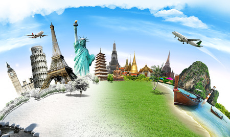 world travel: Travel the world monument concept Stock Photo