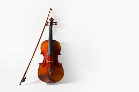 fiddle: Violin and bow on white background Stock Photo