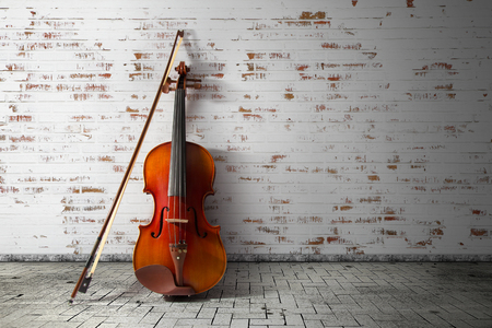 bout: Violin and bow on vintage background
