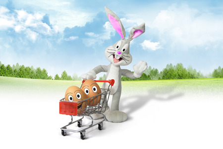 hatchling: shopping cart with easter eggs and bunny