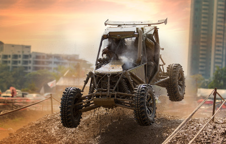 Wheels of a four wheel drive vehicle off the ground photo