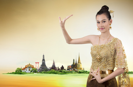thai dance: Thai dance woman with thailand travel background