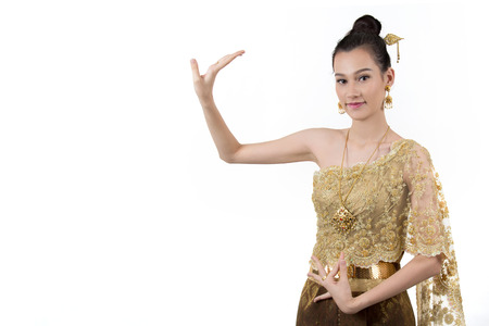 stupa: Thai dance woman with thailand travel background