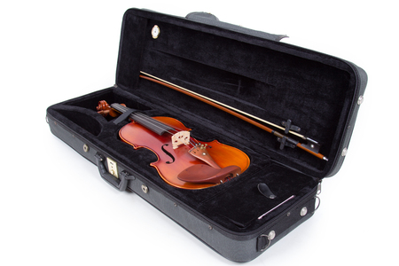 fingerboard: Violin and bow on white background Stock Photo