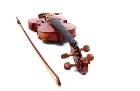 bout: Violin and bow on white background Stock Photo
