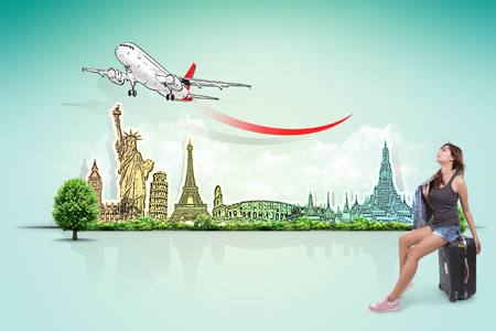 hot tour: travel the world monument concept