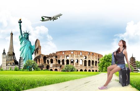 Voyage dans le concept de monument mondial Banque d'images - 45913782