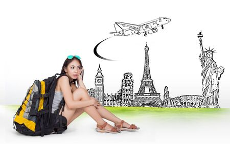 pise: concept traveler woman