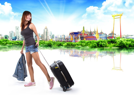 travel woman: traveler woman, thailand travel concept Stock Photo