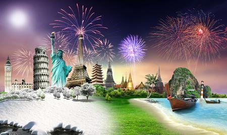 Viaja por el concepto de monumento mundo