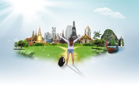 koncepció: Thaiföld utazási háttér, fogalom Stock fotó