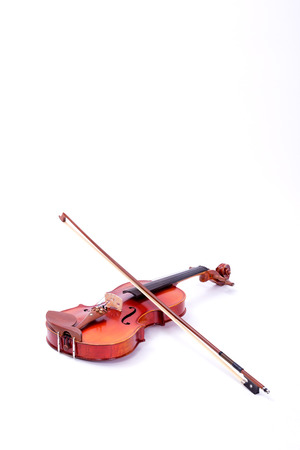 Violin and bow on white background Standard-Bild