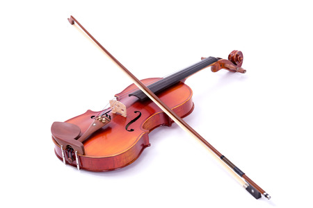 fiddles: Violin and bow on white background Stock Photo
