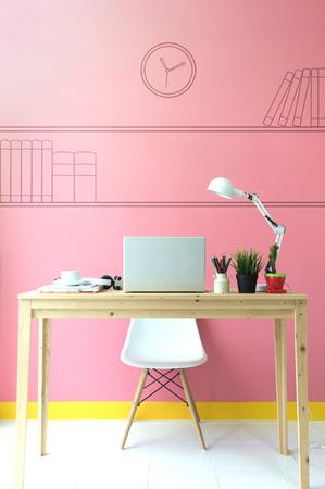 Workplace With Computer Standard-Bild