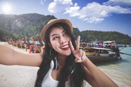 Thailand travel concept. asia travel selfie Asian woman