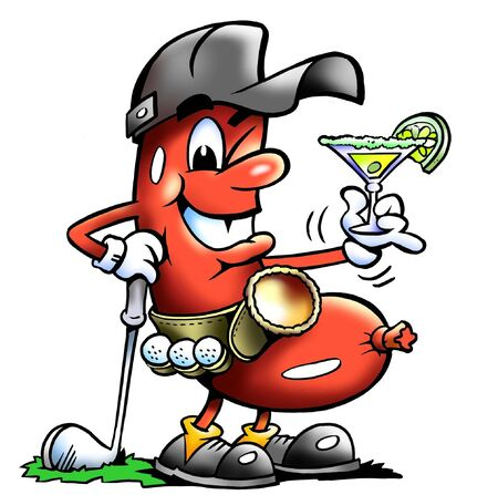 Sporty Golfing Sausage Mascot Sipping A Cocktail