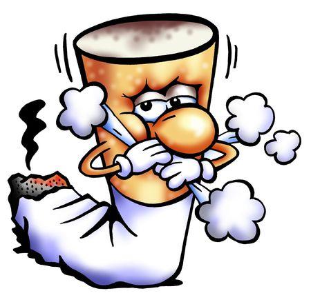 prohibido fumar: No fumar cigarrillos Tos Butt Mascota Foto de archivo