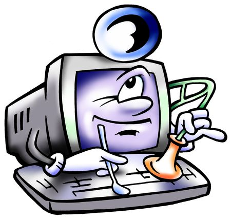 computer repair: Computer Doc Mascot Performing A System Check Up
