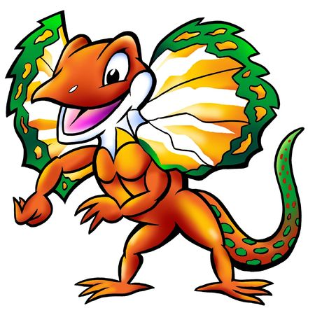 saurian: Happy Frilled Lizard Mascot Stock Photo