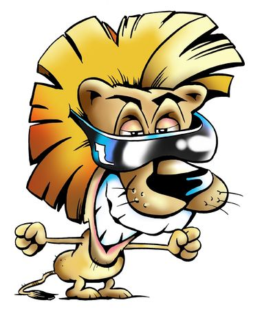 Excited Cool Lion Mascot Wearing Shades