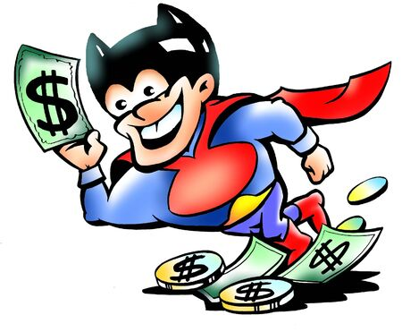 Super Hero Mascot Holding Up Cash photo