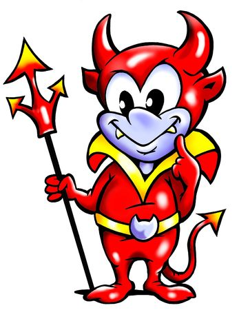 Clever Thinking Male Devil Mascot Stok Fotoğraf