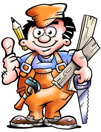 cartoon carpenter: Carpenter Mascot Holding Boards And A Saw