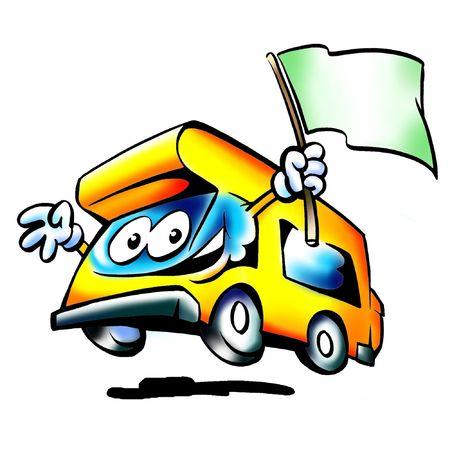 motorhome: Camper Mascot sventolando una bandiera verde