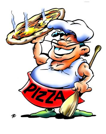 Happy Pizza Chef Mascot Holding Up A Pie