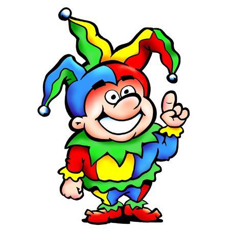giullare: Happy Joker Fool Mascot in uniforme Colorful Archivio Fotografico