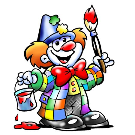 Happy Artistic Clown Mascot Painting Stock Photo