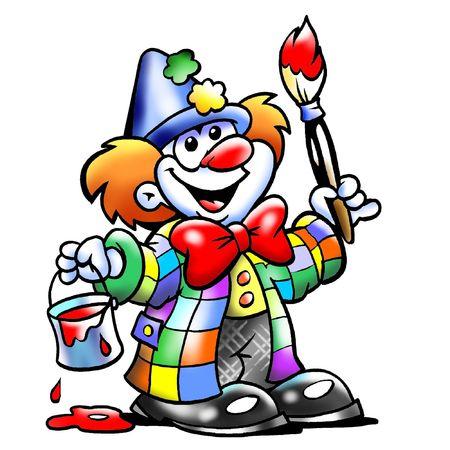 clown cirque: Peinture de mascotte de clown artistique heureux