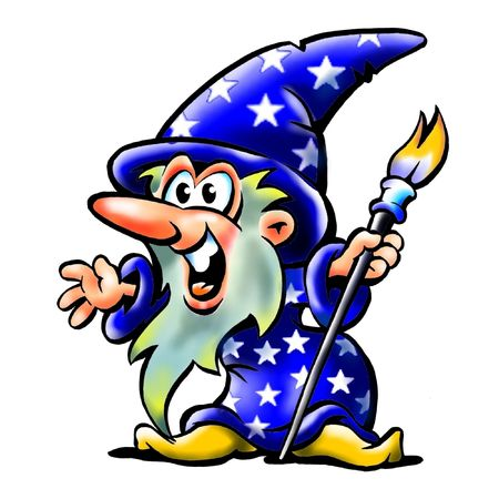 Excited Old Wizard Mascot Holding A Paint Brush