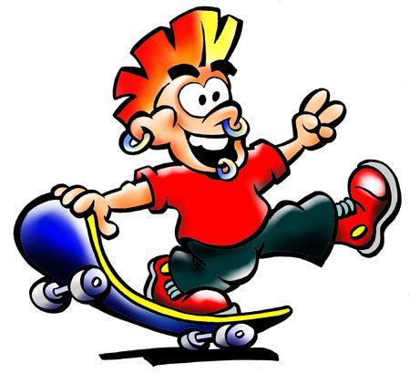 skater boy: Pierced Skater Boy Doing Stunts