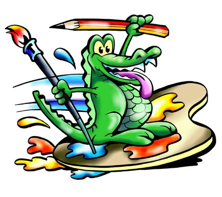 Crocodile Surf On Paint Board Stok Fotoğraf