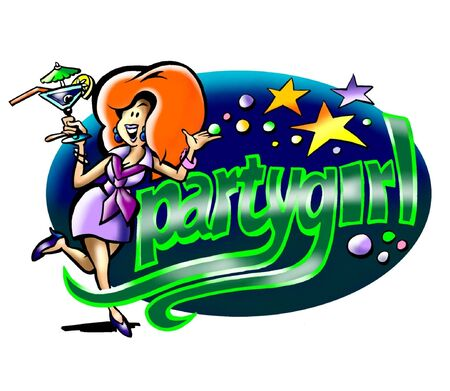 star mascot: Party Girl Logo With Blue Star Background